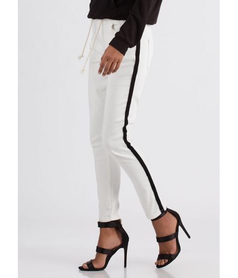 Imbracaminte Femei CheapChic Side Lines Drawstring Skinny Pants White