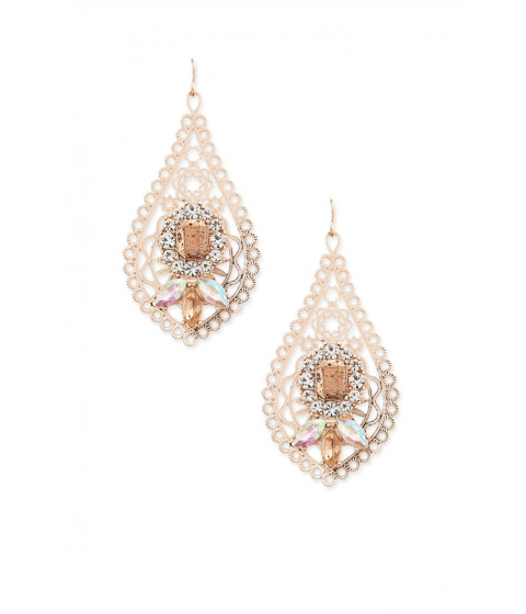 Bijuterii Femei Forever21 Faux Stone Filigree Drop Earrings ROSE GOLD