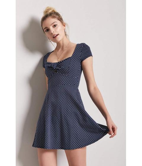 Imbracaminte Femei Forever21 Polka Dot Skater Dress NAVYWHITE