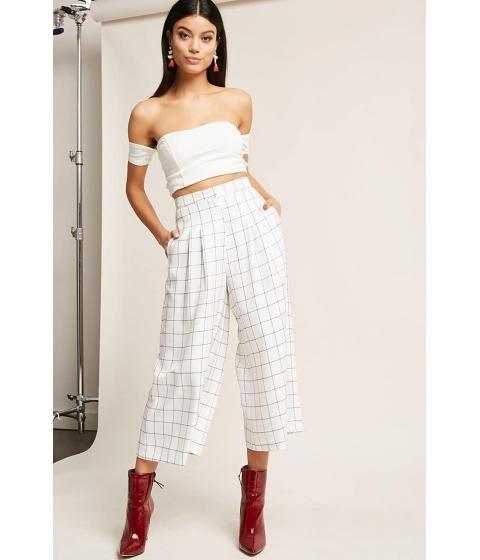 Imbracaminte Femei Forever21 High-Waist Grid Culottes WHITEBLACK