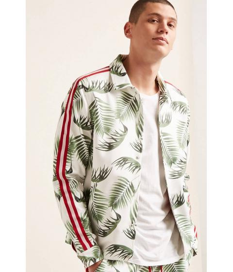 Imbracaminte Barbati Forever21 Leaf Print Track Jacket WHITEGREEN