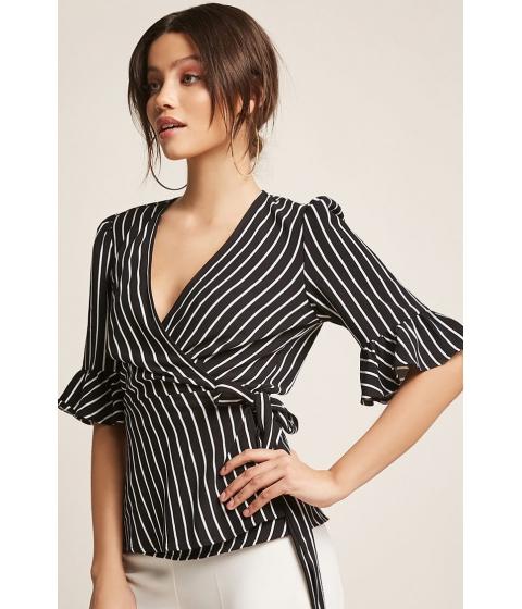Imbracaminte Femei Forever21 Stripe Wrap Top BLACKWHITE