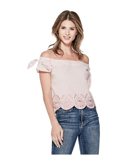 Imbracaminte Femei GUESS Makayla Striped Off-The-Shoulder Top pink multi