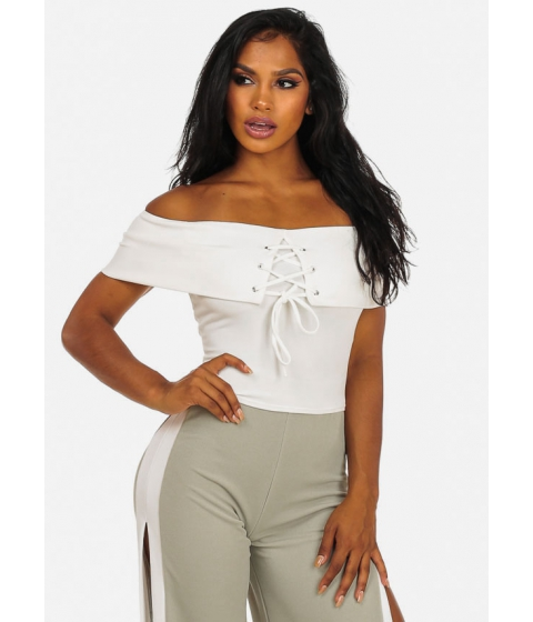 Imbracaminte Femei CheapChic Womens Clubwear White Off-Shoulder Lace Up Crop Top Multicolor