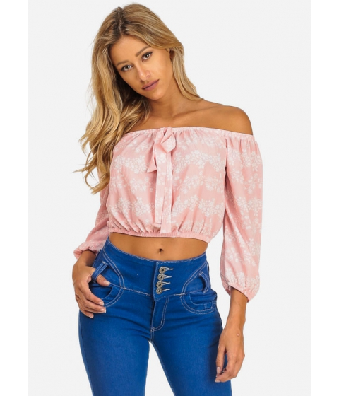 Imbracaminte Femei CheapChic Summer Casual Pink Floral Off-Shoulder 34 Sleeve Crop Top Multicolor