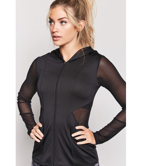 Imbracaminte Femei Forever21 Active Mesh-Paneled Hoodie BLACK