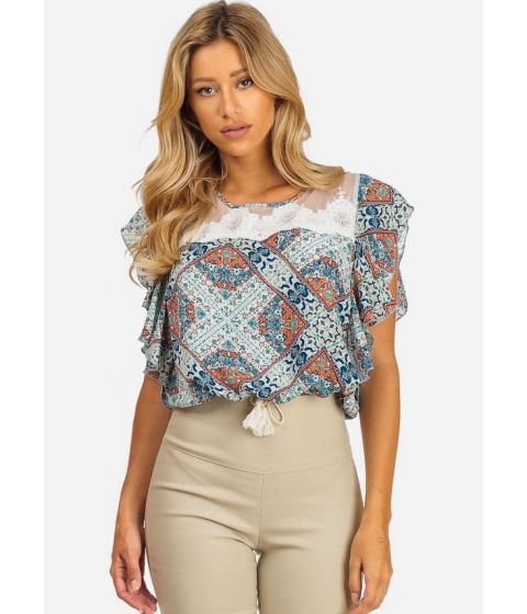 Imbracaminte Femei CheapChic Womens Casual Blue Short Sleeve Printed Crochet Details Top Multicolor