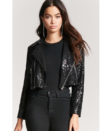Imbracaminte Femei Forever21 Cropped Sequin Moto Jacket BLACK