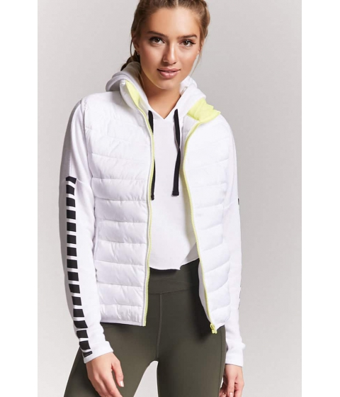 Imbracaminte Femei Forever21 Active Contrast Puffer Vest WHITELIME