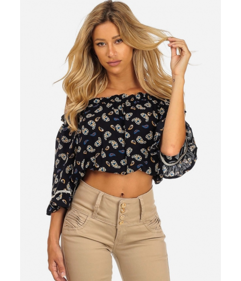 Imbracaminte Femei CheapChic Summer Navy Parsley Print Off-Shoulder 34 Sleeve Crop Top Multicolor