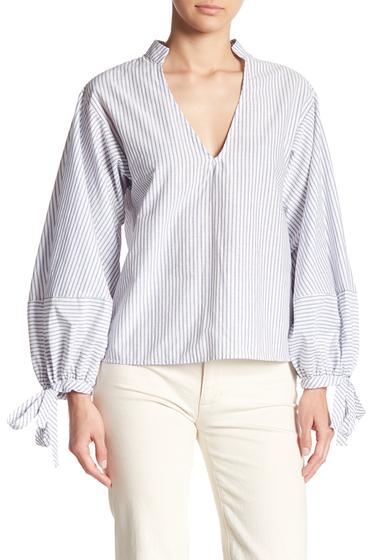 Imbracaminte Femei Melrose and Market Blouson Sleeve Mixed Striped Top BLUE DENIM STRIPE