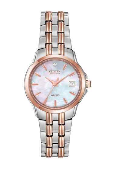 Ceasuri Femei Citizen Watches Womens Eco-Drive Diamond Accent Two-Tone Stainless Steel Bracelet Watch 26mm - 00053 ctw NO COLOR