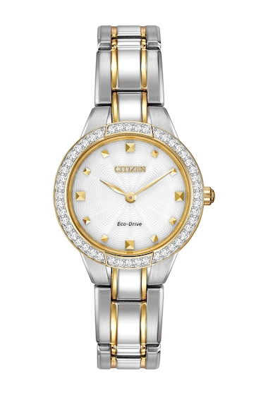 Ceasuri Femei Citizen Watches Womens Eco-Drive Two-Tone Crystal Accent Bracelet Watch 28mm NO COLOR