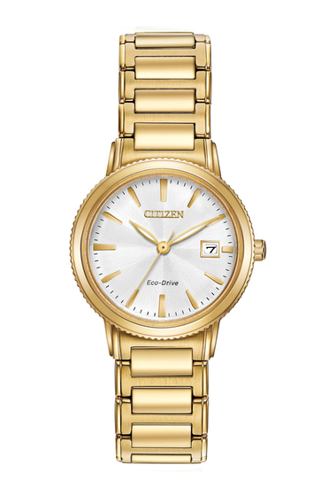 Ceasuri Femei Citizen Watches Womens Eco-Drive Silhouette Sport Gold-tone Bracelet Watch 27mm NO COLOR
