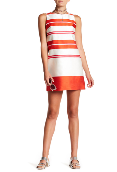 Imbracaminte Femei Alice Olivia Clyde A-Line Shift Dress ORANGE-WHITE