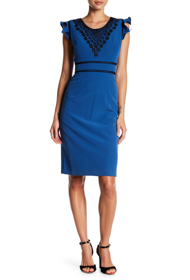 Imbracaminte Femei NANETTE nanette lepore Embroidered Bodice Ruffle Sleeve Dress BLUE LAGON