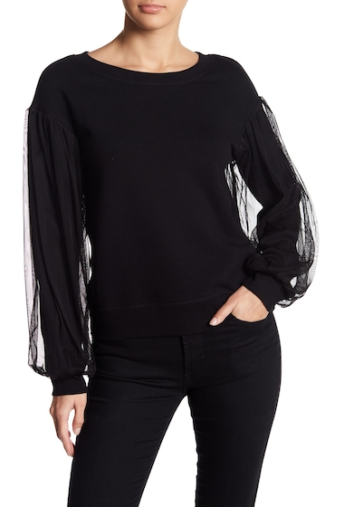 Imbracaminte Femei Melrose and Market Mesh Bubble Sleeve Sweatshirt BLACK
