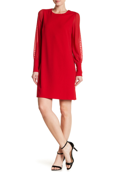 Imbracaminte Femei ABS Collection Mesh Sleeve A-Line Dress LIPSTICK RED