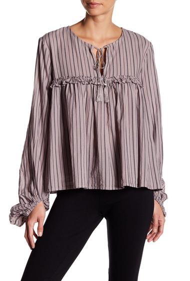 Imbracaminte Femei Wild Pearl Ruffle Split Neck Stripe Blouse PINK S CHAIN ST