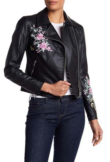 Imbracaminte Femei Philosophy Apparel Floral Embroidered Faux Leather Moto Jacket BLACK