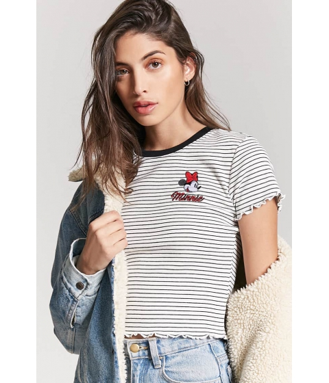 Imbracaminte Femei Forever21 Striped Minnie Mouse Tee WHITEBLACK