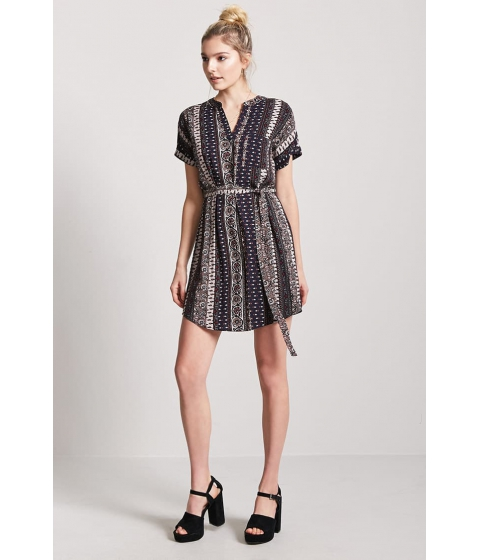 Imbracaminte Femei Forever21 Belted Ornate Print Shift Dress NAVYTAUPE