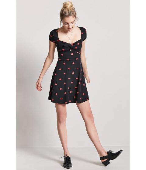 Imbracaminte Femei Forever21 Lip Print Skater Dress BLACKRED