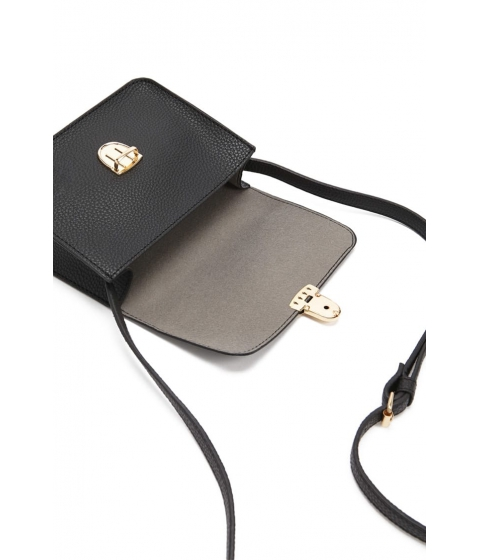 Genti Femei Forever21 Pebbled Faux Leather Crossbody BLACK