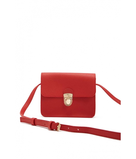 Genti Femei Forever21 Pebbled Faux Leather Crossbody RED