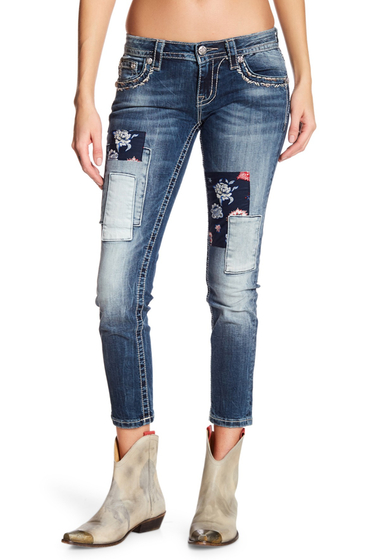 Imbracaminte Femei Miss Me Patchwork Ankle Skinny Jeans MED BLU