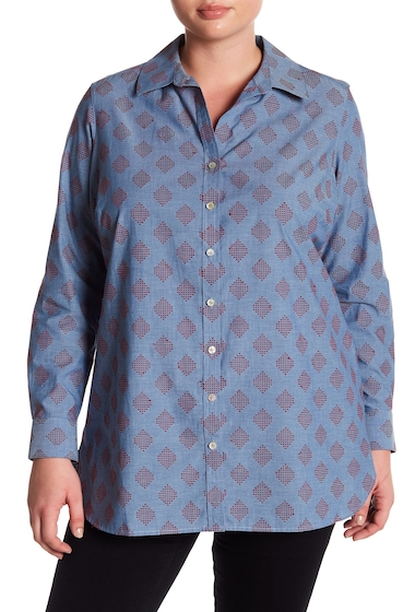 Imbracaminte Femei FOXCROFT Jade Clip Dot Tunic Plus Size CHAMBRAY