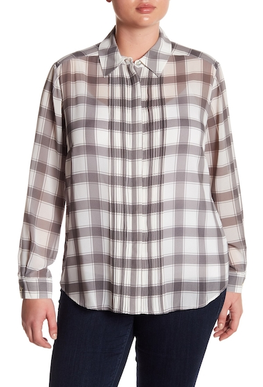 Imbracaminte Femei FOXCROFT Tux Pleat Plaid Top Plus Size WINTER WHITE