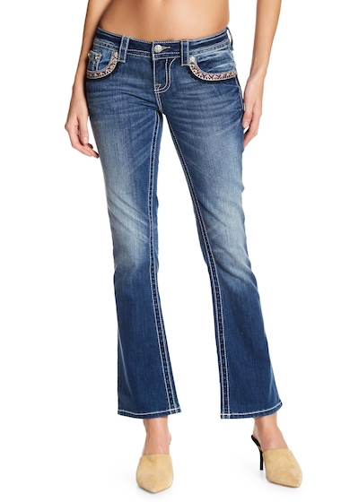 Imbracaminte Femei Miss Me Boot Cut Colorful Topstitch Jeans MED BLU