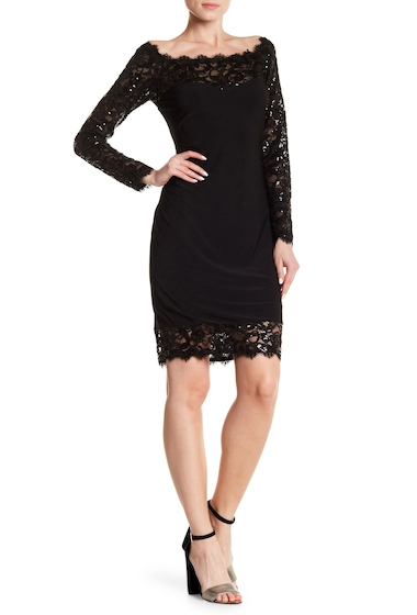 Imbracaminte Femei Marina Lace Illusion Neck Dress BLK