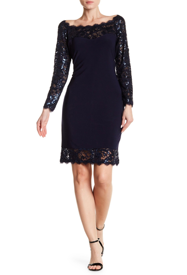 Imbracaminte Femei Marina Lace Illusion Neck Dress NVY