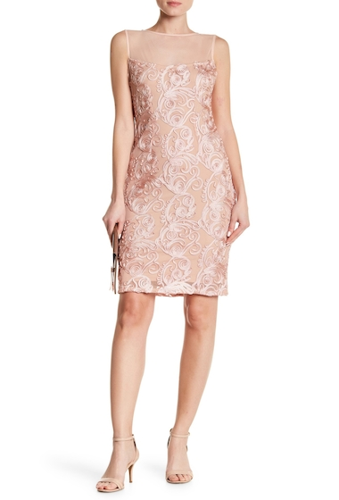 Imbracaminte Femei Marina Embroidered Lace Mesh Illusion Neck Dress BLUSH
