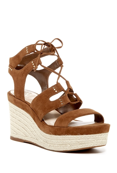 Incaltaminte Femei Vince Camuto Katila Lace-Up Espadrille Platform Wedge Sandal BROWN