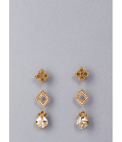Bijuterii Femei CheapChic Diamond Suit Jeweled Earring Set Gold