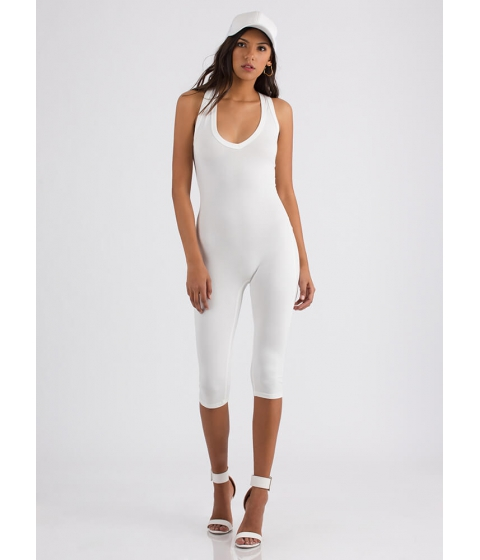 Imbracaminte Femei CheapChic One And Done Racerback Capri Jumpsuit White
