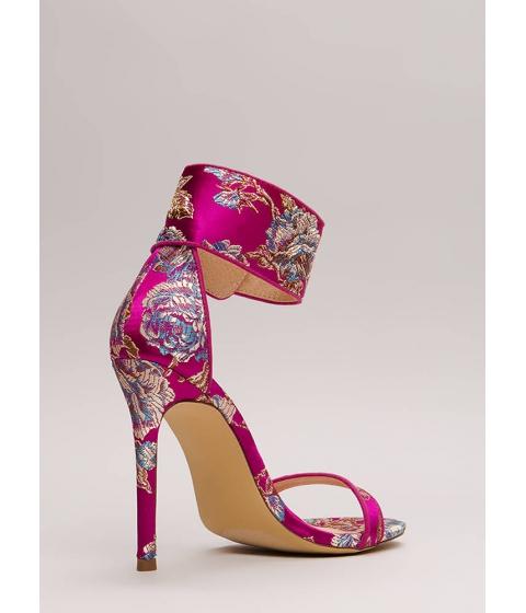 Incaltaminte Femei CheapChic Fine China Embroidered Ankle Cuff Heels Fuchsia