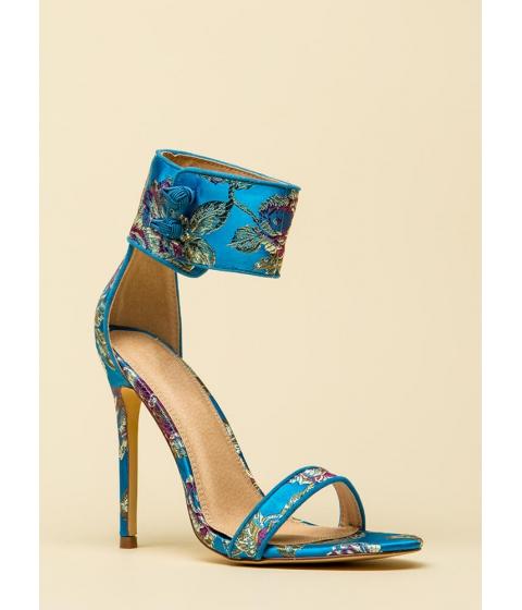 Incaltaminte Femei CheapChic Fine China Embroidered Ankle Cuff Heels Blue