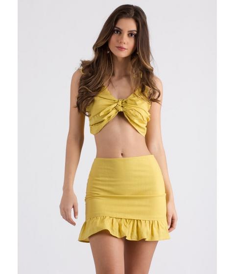Imbracaminte Femei CheapChic Island Vacay Ruffle Hem Miniskirt Yellow