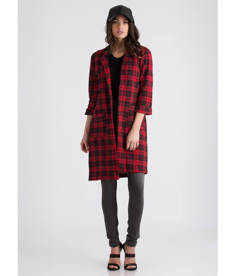 Imbracaminte Femei CheapChic Feeling Quilty Plaid Blazer Coat Redblack