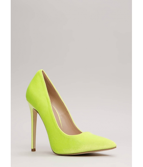 Incaltaminte Femei CheapChic Get There Fast Pointy Velvet Pumps Yellow