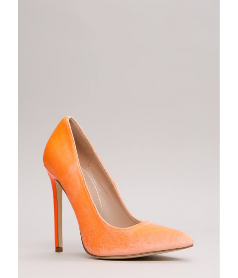 Incaltaminte Femei CheapChic Get There Fast Pointy Velvet Pumps Orange