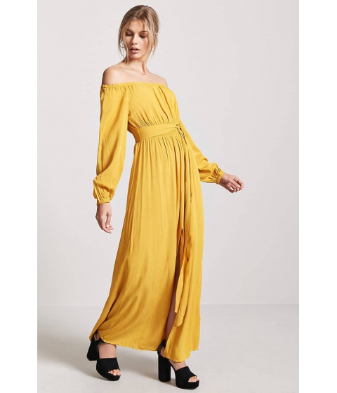 Imbracaminte Femei Forever21 Woven Off-the-Shoulder Maxi Dress MUSTARD