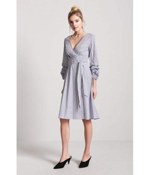 Imbracaminte Femei Forever21 Stripe Surplice Cutout Dress NAVYWHITE