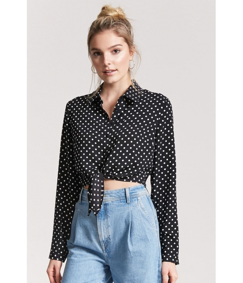 Imbracaminte Femei Forever21 Polka Dot Tie-Front Shirt BLACKIVORY