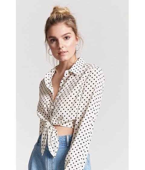 Imbracaminte Femei Forever21 Polka Dot Tie-Front Shirt CREAMBLACK