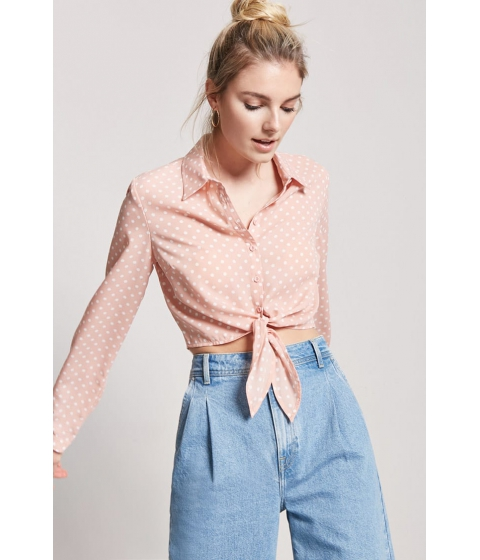 Imbracaminte Femei Forever21 Polka Dot Tie-Front Shirt PINK
